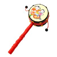 0-12 Months drum percussion instrument - Kids Pellet Drum Rattle Hammer Rattle Educational Learning Musical Instrument Percussion Baby Cartoon Musical Instrument Toy