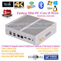 Wholesale Mini Nettop - Wholesale-Mini Nettop Fanless Education Mini PC I5 5200U 8GB RAM 32GB SSD 5500 Graphics 2.2GHz Max 2.7GHz 300M Wifi With Dual Antennas