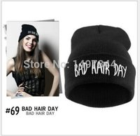 Wholesale Yellow Beanie For Sale - Wholesale-2015 Sport Winter Bad Hair Day Beanie Cap Men Hat Beanie Knitted Winter Hiphop Hats For Women Fashion Caps Hot Sale DP671503