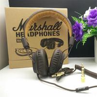 monitor marshall al por mayor-Marshall Major auriculares con micrófono Deep Bass DJ Hi-Fi Headset HiFi Headset Profesional DJ Monitor Auricular Original