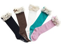 Wholesale Girls Lace Knee Socks - Wholesale-New baby girl socks kids Stockings classic knee BOOT high socks with lace solid color cotton socks