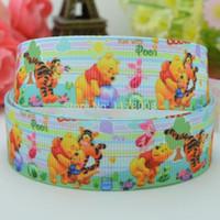 "Wholesale Pooh Ribbon - Free shipping 7 8"" 22mm Winnie bear Pooh Printed grosgrain ribbon,hairbow DIY handmade clothing materials wholesale OEM 50yards"