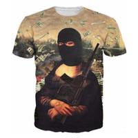 ropa de pistola superior al por mayor-Venta al por mayor-2016 Nueva camiseta de los hombres de la marca de ropa 3D camiseta Mona Lisa con pistola de moda de verano Hip Hop Camisetas Harajuku Casual Top Tees