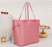 Wholesale Cheap Designed Handbags - Women pink design bag fashion shopping tote handbag Cheap leather tote women shopping bags epi handbags
