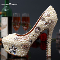Wholesale Off White Wedding Heels - White and Off White Handmade Full Beads with Rhinestones Covered Platform High Heels Wedding Shoes Bridal Shoes Pumps - 0476