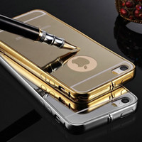 Wholesale Galaxy Note Detachable Case - Samsung Galaxy S6 S7 Edge Note 5 Luxury Metal Air Aluminum Frame Cases Iphone 7 5S 6S plus Plating Bumper Detachable Mirror Hard Back Cover