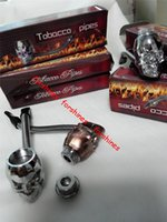 Wholesale Christmas Gift Free Shipping - 24pcs lot skull Metal Pipe herb Tobacco Smoking Pipes cigarette pipe BEST CHRISTMAS XMAS Gift Smoke pipes sets Stocks free shipping to usa