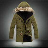 Wholesale Long Coat Korean Men - Men Korean version Casual Cotton Parka Solid Color Tide Male Coat Outdoor Sport Warm Army green Parka Thicken Long Jacket