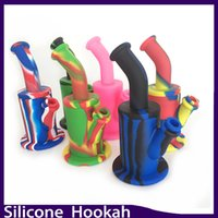 Wholesale Silicone Bong Water Pipes quot inch Camouflage Colorful Silicone Oil Rigs Detachable Hookahs Glass Diffuse Downstem Glass Bowl