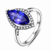 Wholesale white gold marquise settings resale online - Solid k White Gold Natural Marquise Stunning Blue Tanzanite Diamond Ring R0048