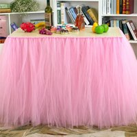 Wholesale Korean Table Decorations - 2015 Tulle Table Skirt Tutu Table Decoration for Weddings Invitation Birthdays Baby Bridal Showers Parties Tutu Party Decor WCS016