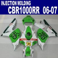 Wholesale Cbr Green - Injection molding ABS bodykits for HONDA fairings CBR1000RR 2006 2007 green white GO fairing kit CBR 1000 RR 06 07 VV38