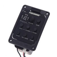 Wholesale Acoustic Black Guitar Eq - Fishman 301 4-Band EQ Equalizer Acoustic Guitar Preamp Piezo Pickup Guitar Tuner with Mic Beat Board Top Quality