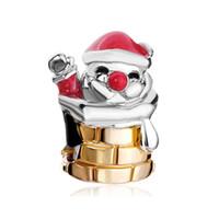 Wholesale Metal Charm Santa - 10pcs per lot Rhodium and Gold Plating Merry Christmas Santa Claus European Charm Bead Fit Pandora Bracelet