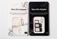 Wholesale S Micro Sim - DHL Free Shipping,Portable 4 In 1 Nano SIM card to Micro SIM Nano Micro to mini sim adapter for iphone 5 4 s sim card adapter with Package