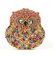 Wholesale Elegant Cheap Handbags - Owl Animal Purses Ladies Handbags 2015 Crystal Beading Luxury Evening Gandbags Cheap Modest Fashion Elegant Bags For Bridal Party Cluth
