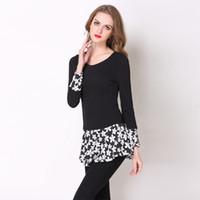 Wholesale Strechy Dresses - Autumn Women's Black Plus Size Fashion Slim Floral Patchwork Long Sleeve Casual Cotton Strechy Mini Dresses S-5XL