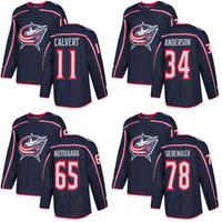 Wholesale 78 Jackets - Customized Mens 2017-2018 Columbus Blue Jackets 11 Matt Calvert 34 Josh Anderson 65 Markus Nutivaara 78 Blake Siebenaler Hockey Jerseys