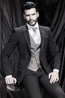 Wholesale Mens Designer Tuxedos - New Designer Modern 2015 One Button Charcoal Customized Mens Suit Groom Tuxedos Slim Fit bridegroom and Groomsman Suit Jacket+Pants+Vest
