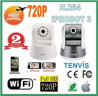 Wholesale Camera Ip Tenvis Iprobot3 - FREE SHIPPING 2PCS LOT Tenvis 720P IP Camera H.264 Night Vision 2 Audio for iPhone Andriod IPRobot3