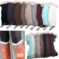 Wholesale Women Cover Leg - 1lot=1pair=2pcs women Crochet lace boot cuffs handmade Knit leg warmer Ballet lace Boot Cuff Leg Warmers Christmas Boot Socks covers 9 colo