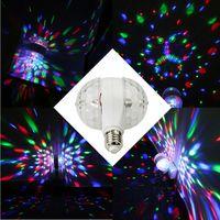 rotierende disco-glühbirne großhandel-Neues Jahr Heißer Verkauf 6 Watt E27 Bunte Auto Rotating RGB Kristall Bühne Licht Magie doppelkugeln DJ party disco effekt Birne Lampe