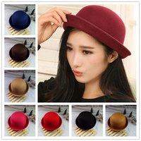 Wholesale Trendy Church Hats For Women - Hot Sale !! 2015 Women Lady Cute Trendy Solid color Top Hats Formal Caps Hat for women Cap 10 Colors Free DHL LA109-2
