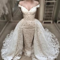 Wholesale Charming Beaded Mermaid - Vintage Lace Mermaid Wedding Dress With Detachable Over-Skirts Charming Off Shoulder V-Neck Wedding Gowns Beaded Applique Bridal Dresses