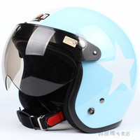 """Wholesale Abs S - Wholesale-E.18 3 4 Taiwan """" SYC """" ABS Cycling Casque Open Face Motorcycle Sky Blue # White Star Helmet & UV """"W"""" Lens"""