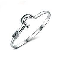 ingrosso monili nobili 925 di modo-Prezzo di fabbrica caldo del regalo 20pcs / lot 925 braccialetti d'argento di fascino del braccialetto del braccialetto del delfino di qualità nobili fini del braccialetto 1304
