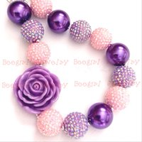 Wholesale Big Chunky Beads - Purple Flower Pink&Purple resin stone beads big pearl beads chunky bubblegum girl statement necklaceCB648