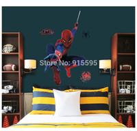 büyük duvar resimleri bedava nakliye toptan satış-Ücretsiz Nakliye: Moda Büyük Örümcek Adam 3D Sanat Duvar Çıkartmaları / Boys 'Oda Dekor Için çıkarılabilir PVC Duvar çıkartmaları Mural 90 * 110 cm
