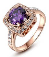 Wholesale Stone Cushions - Hot Deal Fashion Womens Cushion Cut Purse Gemstone Amethyst Rose Gold Lady Party Finger Crystals Band Rings