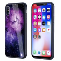 Wholesale Iphone Case Shimmering - Tempered glass back cover for goophone iphone x case pattern shimmer star sky case for iphone 7 6 plus silicone tpu full protector