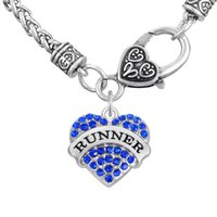 Wholesale Runners Necklace - Sports Thick Bracelets Word RUNNER Pendant Necklaces For Gift&Party Colorful Heart Necklaces Crystal Heart Lobster Clasp Jewelry