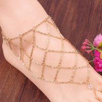 Wholesale cheap wholesale anklets - Fashion Fishing mesh anklet lozenge chain mittens anklet alloy women Instep barefoot sandals chain beach foot jewelry cheap 160243