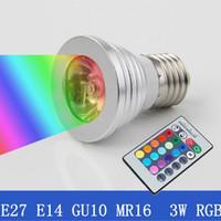 Wholesale changing spotlight bulbs - 3W LED RGB Bulb 16 Color Changing 3W E27 GU10 E14 MR16 GU5.3 LED Spotlights RGB Led Bulbs Downlight Lamp + 24 Key Remote Control 85-265V 12V