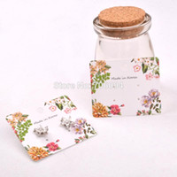 Wholesale Wholesale Card Displays - 1000pcs lot 5*6cm White Paper Jewelry Earring cards Earring Packing Display cards printed flowers,custom earring cards