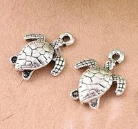 Wholesale Plated Turtle Charm - New Free Shipping 100pcs lot Ancient Silver Plated Lovely Sea Turtle Alloy Charms Pendants 12X15mm