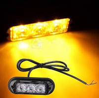 Amber 3 LED Waterproof Grille Carro Truck Strobe Flash Emergency Warning Light NOVO