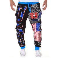 Wholesale Usa Pants Mens - USA American flag Joggingbroek Sport Baggy Cargo Jogging Sweatpants Mens Drop Crotch Joggers Sweat Pants Baggy Pantalon Homme
