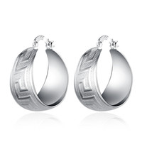Текстурированный греческий ключ Pattern Fat Round Dangle Hoop Earrings Silver Plated Nickel Free
