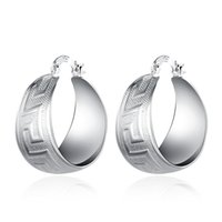 Texture Grec Key Pattern Fat Round Dangle Boucles d'oreilles Silver Plated Nickel Free