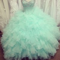 2015 Real Image Quinceanera Платья с бисером из бисера Кристаллы Backless Ruffles Бальное платье Organza Mint Green Prom Gowns Милая 15