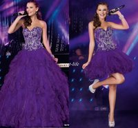 Wholesale Detachable Quinceanera Dress Gown - Cheap Purple Two Piece Quinceanera Dresses with Detachable Train Sequins Crystals Ruffles Tulle 2016 Sweet 16 Party Homecoming Prom Dresses