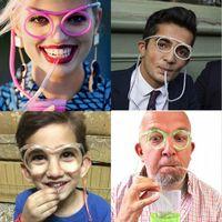 canudos de plástico azul venda por atacado-Engraçado Palha De Óculos Macio Único Tubo Bebendo Flexível Crianças Acessórios Do Partido Canetas De Beber De Plástico Rosa Azul Colorido