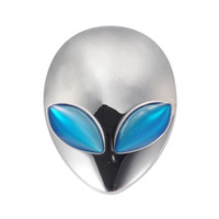 ingrosso adesivi blu-Silver Car 3D Logo Metal Aliens Auto Truck Moto Emblem Badge Sticker Decal Blue Eyes
