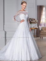 Wholesale Short Skirt Zipper Front - 2015 Elegant Bateau Wedding Dresses Overskirts Sheer Lace Back Beach Bridal GownsA-Line Appliques Long Sleeve Wedding Gown Bridal Dress