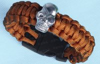 Wholesale Paracord Buckles Whistles - New 550LB skull paracord survival bracelet buckle with flint & whistle & cutter , outdoor camping survival equipment sobrevivencia
