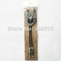 Wholesale Cowboy Western Necklace - Wholesale-Wholesale Bolo Ties Western Bull Cowboy Black Bolo Tie Wedding Necklace Free Shipping 6pcs Per Lot